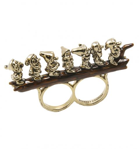 Antique Gold Plated Snow White Seven Dwarves Perching Double Ring from Disney Couture £42.00
