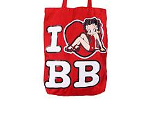 Betty Boop I Love BB Red Canvas Tote Bag