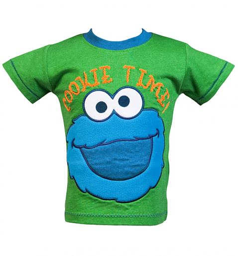 Kids Green Cookie Time Sesame Street T-Shirt from Fabric Flavours £16.00