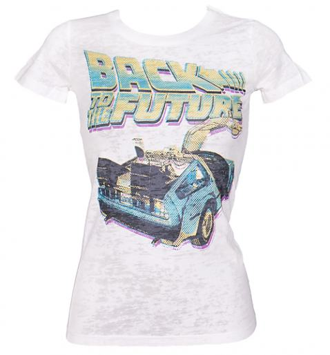 Ladies Back To The Future Delorean Burnout T-Shirt from American Classics £24.99