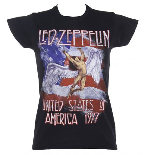 Ladies Black Led Zeppelin Stars And Stripes 1977 T-Shirt £17.99