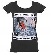 Ladies Stone Roses Wanna Be Adored Charcoal T-Shirt from Amplified Vintage