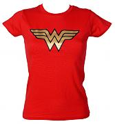 Ladies Wonder Woman Gold Foil Logo T-Shirt from Urban Species