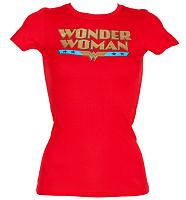 Ladies Gold Foil Retro Wonder Woman Logo T-Shirt from Urban Species