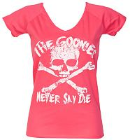 Ladies Pink Goonies Never Say Die Classic V-Neck T-Shirt
