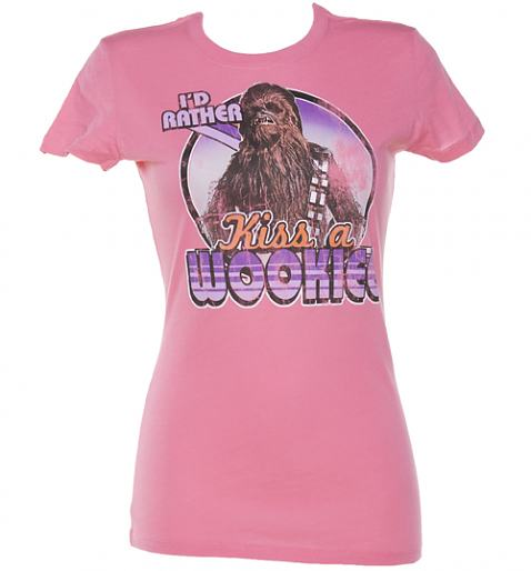 Ladies Pink I'd Rather Kiss A Wookie Star Wars T-Shirt £24.99