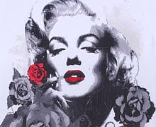 Ladies White Marilyn Monroe Roses T-Shirt from American Classics