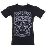 Men's Black Johnny Cash Vintage Mean As Hell Pistols T-Shirt