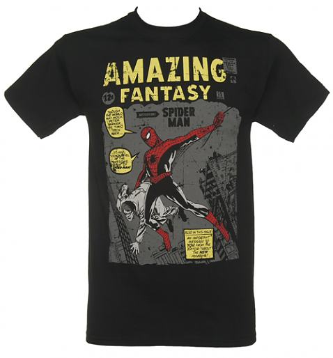 Men's Black Spiderman Amazing Fantasy Vintage Cover Print Marvel T-Shirt