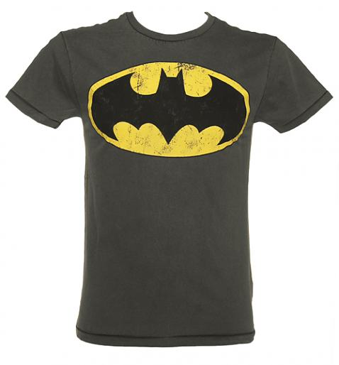 Men's Dark Grey Washed Batman Logo T-Shirt from Fabric Flavours