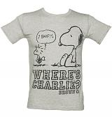 Men's Grey Peanuts Charlie Brown T-Shirt