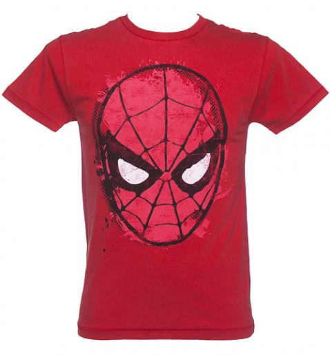 Men's Red Washed Spiderman Mask T-Shirt from Fabric Flavours