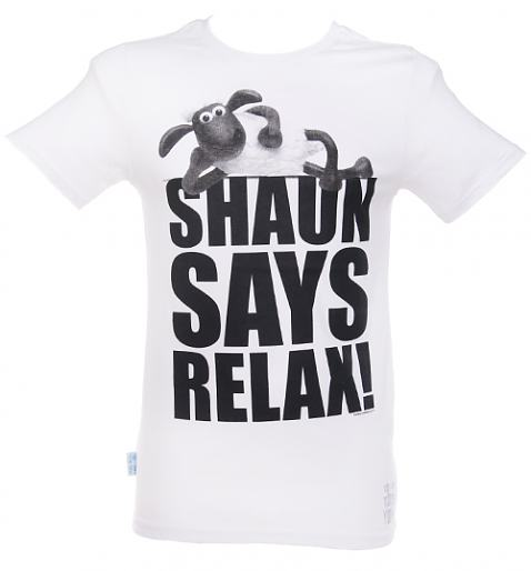 Men's Shaun The Sheep Shaun Says Relax T-Shirt from Too Late To Dye Young £24.99