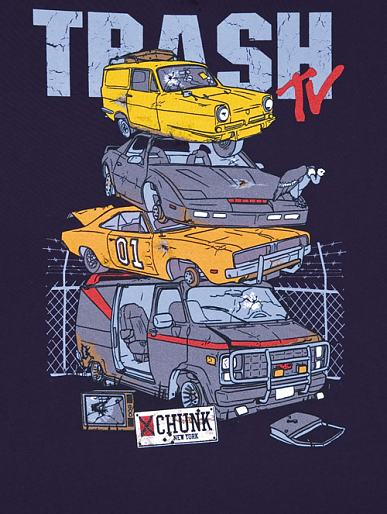 Men's Trash TV Car Pile Up T-Shirt from Chunk