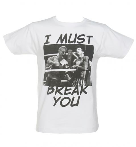 Men's White Rocky I Must Break You Fight T-Shirt